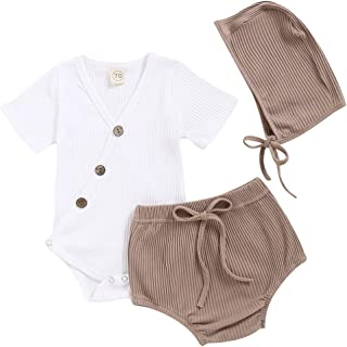 Newborn Unisex Baby Pajamas Kimono Button Bodysuit Short Sleeve Ribbed Romper + Shorts Hat 3 Piece Set