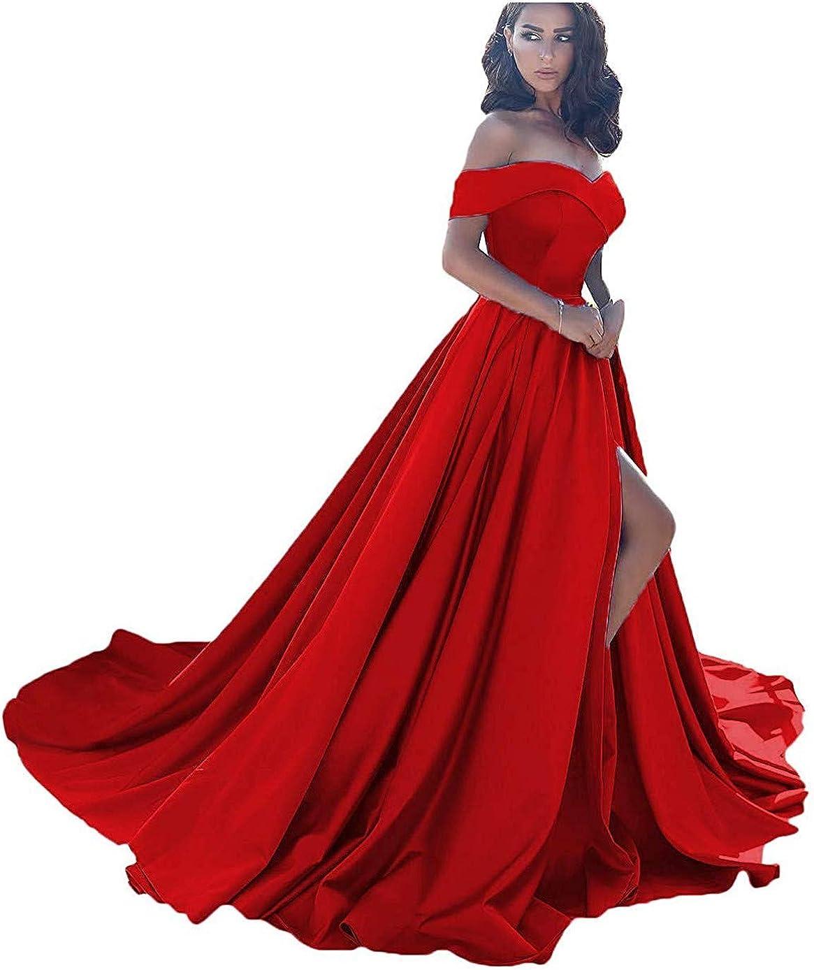 ANGELWARDROBE Women's Off Shoulder Formal Ball Gown Long with Slit Prom Dresses Satin Wedding Dress