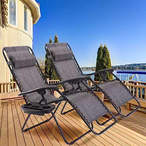 Goplus Zero Gravity Chair Set 2 Pack Adjustable Folding Lounge Recliners for Patio Outdoor Yard Beach Pool w/Cup Holder, 300-lb Weight Capacity (Light Gray)