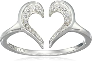 Women's Heart Silhouette Ring Swarovski Zirconia, Silver, One Size