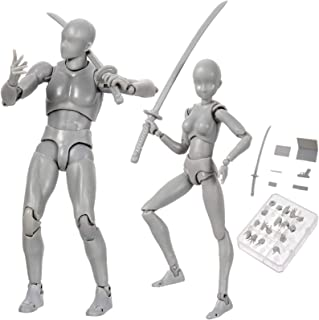 8-TWELVE Manikins نقاشی مدل مانکن مدل نقاشی انسان مدل خاکستری رنگ Dx ست پی وی سی شکل مدل طرح نقاشی پایه ، کیت لوازم جانبی خنده دار (خاکستری ، زن نر)