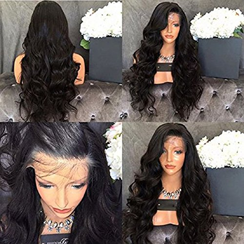 Full Lace 8A Grade Human Hair Wigs Glueless Virgin Body Wave Hair Lace Brazilian Hair Natural Black Color 150% Density with Baby Hair for Black Women (20inch, 150% full lace)