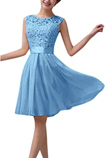 Women's Sleeveless Floral Lace Crochet Slim A Line Skater Cocktail Party Prom Mini Dress