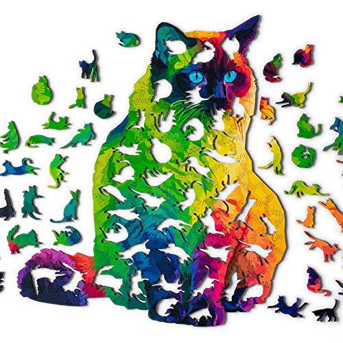 HSETIY Holzpuzzle Puzzle, bestes Geschenk für Erwachsene und Kinder, einzigartige Form, Puzzle-Teile, mysteriöse Katze, 25,4 x 29,5 cm, 224 Teile