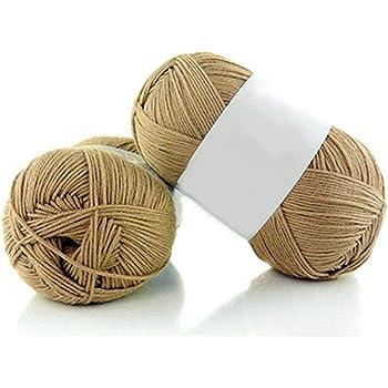 Qingsb- Ovillo de lana de bambú suave, 50 g por madeja, 1 pieza #19 Caqui: Amazon.es: Hogar