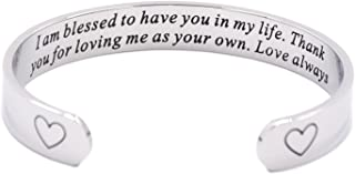 LParkin I Am Blessed to Have You in My Life Cuff Bracelet Stepmom Gift Godmother Gift