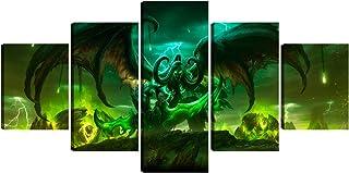 Framed 5 Piece Illidan Stormrage Lord Of Outland Black Temple World Of Warcraft Art Demon..