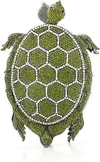 for Party Rhinestone Dinner Bag Lady Handmade Bags Elegant Banquet Clutch Bag Shoulder Chain Bag Dress Hard Shell Gift Turtle Model (Color : Green, Size : M)
