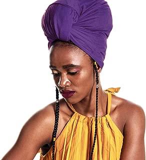 ACRABROS Stretch Jersey Turban Head Wrap, Urban Hair Scarf - Ultra Soft, Extra Long,Breathable,Purple