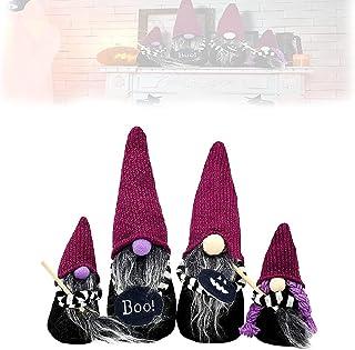Hengyuan 4 pièces Halloween sorcière Gnomes Ensemble de décoration à la Main suédois Violet en Peluche sans Visage poupées...