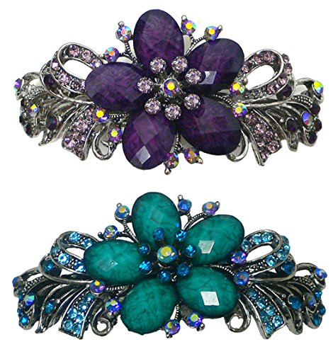 Set of 2 Bella Large Barrettes with Beads and Crystals Hair Clips for Women 0052-2purpleAquaMarine