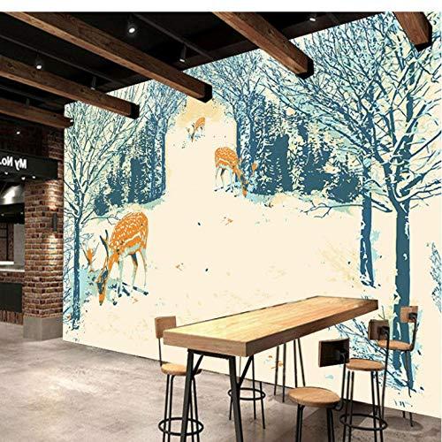 Wuyii Gepersonaliseerd fotobehang bos Sika hert restaurant decoratie achtergrond muur slaapkamer restaurant Studio handgeschilderd behang 150 x 120 cm