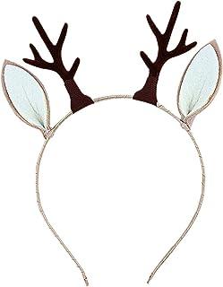 Reindeer Ears Christmas Headband Reindeer Antlers Pink Deer Antler Headband Reindeer Costume Deer Headband Beaded Reindeer Headband