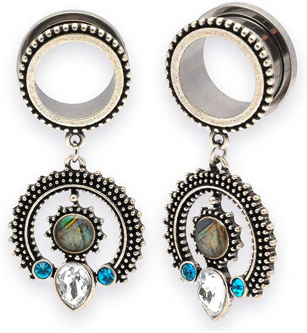 Mystic Metals Body Jewelry Pair of 316L Steel Screw on Plugs with Tribal Abalone Shell Dangle Style 2 (PS-269)