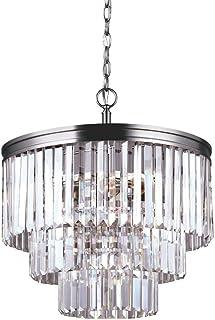 Sea Gull Lighting 3114004-965, Carondelet Crystal Chandelier Lighting, 4 Light, 300W, Nickel