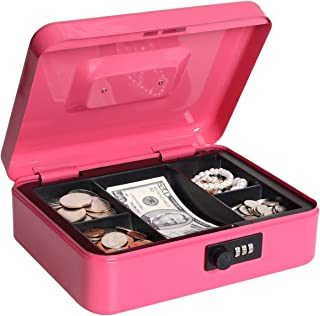 Lovndi Cash Box with Combination Lock, Metal money Box for Cash, Lock Box with Money Tray, 9.84x 7.87x 3.54 Inches, Pink