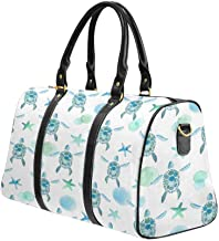 InterestPrint Waterproof Travel Bag Sports Duffel Tote Overnight Bag Sea Turtle Starfish Watercolor Sea Life