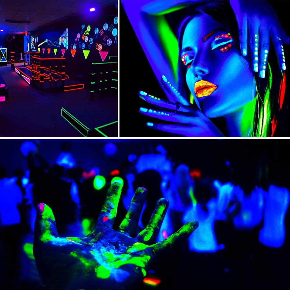 IP66 Waterproof Blacklight for Dance Party LED Black Lights with UL Plug Aquarium Neon Glow 1 Pack Stage Lighting Body Paint Glow in The Dark 30W UV LED Flood Light Fluorescent Poster