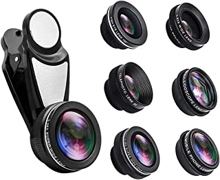 ZC Dawn Cell Phone Camera Lens Kit 7 in 1, Phone Camera Lens Kit Compatible with iPhone and Android, Fish Eye Wide Angle M...