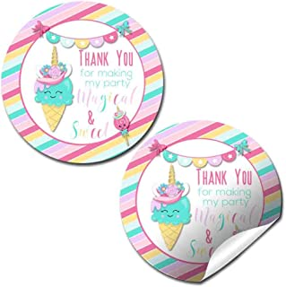 Turquoise Unicorn Ice Cream Cone Birthday Party Thank You Sticker Label, 40 2