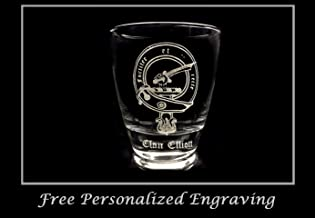 Clan Elliott Scottish Crest Clear Lowball Rocks Glass 10oz - Free Personalized Engraving, Celtic Decor, Scottish Glass