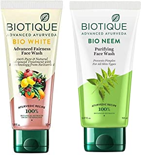 Biotique Bio White Advanced Fairness Face Wash, 150ml & Biotique Bio Neem Purifying Face Wash for All Skin Types, 150ml