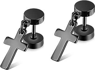 Mens Womens Stainless Steel Jewelry Polished Cross Stud Earrings Set Ear Piercing Plugs Tunnel Punk Style(ED-46)
