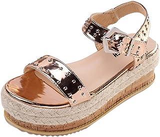 Pandaie Womens ... Sandals Summer Womens Thick-Soled Sandals Belt Buckle Flat Sandals