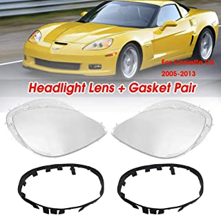 1Pair Left&Right Lenses Replacement Covers Headlight Replacement Lens Driver Passenger Side For Corvette C6 2005-2013