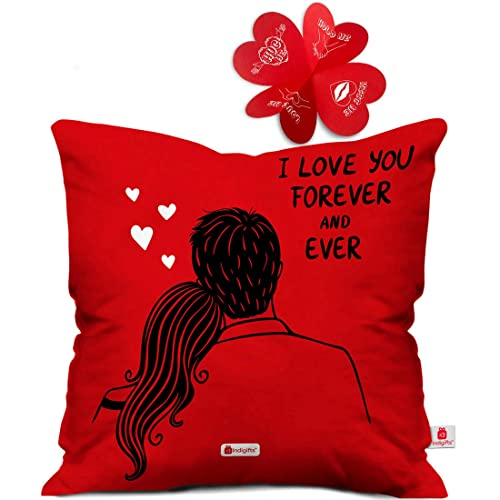 Indigifts Poly Satin I Love You Forever Quote With Couples Picture Cushion Cover 16X16 In