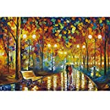 1000 piezas Jigsaw Puzzle para adultos – Walking in The Rain Oil Painting Artist by Leonid Afremov Challenging Large Puzzles for Kids 1000 Piece Puzzles Educational Toys Game DIY Gift Decor