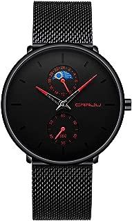 HunYUN Men's Scrub Watch Simple Casual Business Quartz Watch Waterproof Black Stainless Steel Mesh Strap Customized Watches