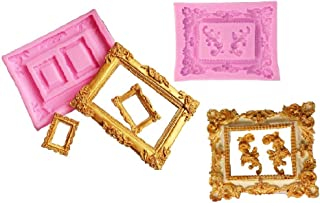 Tangker 2pcs Vintage Photo Frame Fondnat Silicone Molds Baroque Style for Sugarcraft Cupcake Topper Jewelry Polymer Clay C...