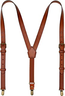 Leather Suspenders For Men Y Back Design Adjustable Widened Brown Genuine Leather Suspenders Personalized groomsmen gifts