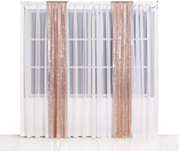 SquarePie Sequin Backdrop 2FTx8FT Rose Gold 2pcs Curtain Background for Photo Booth Photography Wedding Patry Christmas Decoration