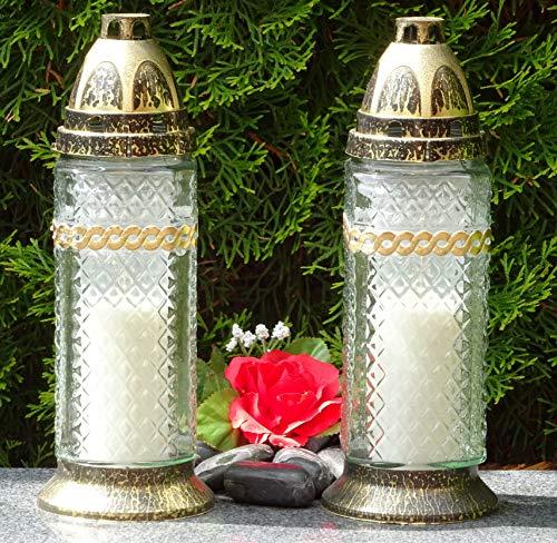 ♥ 2 STÜCK Grablaternen incl. 2 Grabkerzen Bronze Grablaterne Laterne Grabschmuck Grableuchte Grablampe Kerze