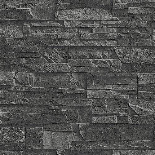 Rasch Factory Slate Brick Pattern Stone Faux Effect Textured Mural Wallpaper (Black 475036)