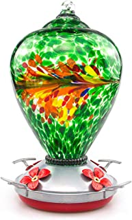 Muse Garden Hummingbird Feeder for Outdoors, Hand Blown Glass, 34 Ounces, Containing Ant Moat, Peacock