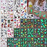 Tatuajes Temporales Niños Pegatinas,326 Tatuajes Luminosos de Dibujos Estilo Mixto, Unicornio Sirena Mariposa Animal Dinosaurio Pirata Tatuaje,30 Hojas Tatoos Regalo de Decor Fiesta Para Niños