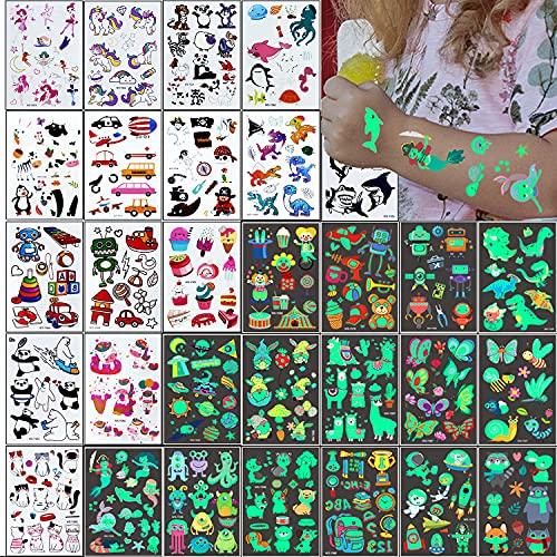 Tatuaggi Temporanei per Bambini 326 Luminous Adesivi Tatuaggi Finti per Ragazzo Ragazza Adulti Festa Compleanno Giochi Decorazione Regalini Gadget Giocattoli