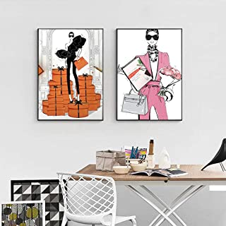Moda Cool Girl Canvas Painting Wall Art Feature Carteles e impresiones Estilo nórdico para el hogar 50x70x2Pcscm Sin marco