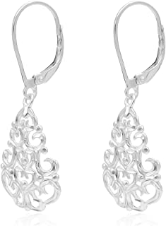 River Island Sterling Silver Filigree Teardrop Leverback Dangle Earrings   Available in Silver, Rose and Yellow Gold.