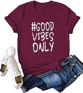 Festnight Print T-Shirt,Summer Women Good Vibes Only T-Shirt Letters Print O Neck Short Sleeve Top