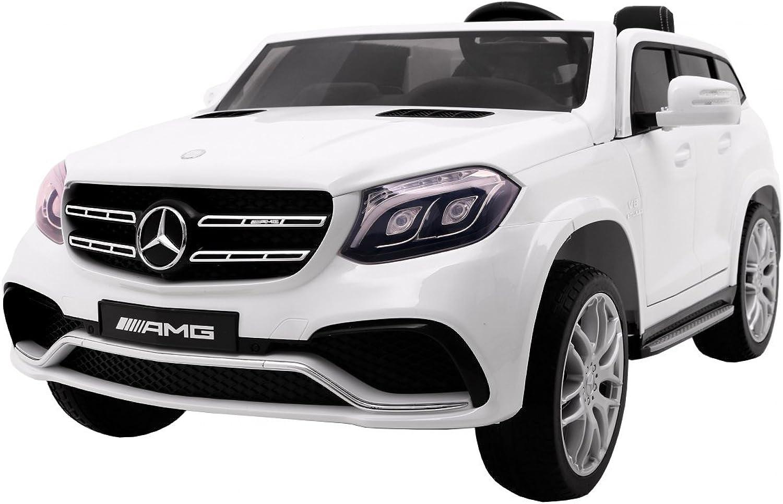 Elektro Kinderauto Elektrisch Ride On Kinderfahrzeug Elektroauto Fernbedienung - Mercedes Benz GLS 63 AMG 4WD - Wei Metallisch