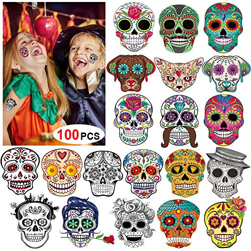 Day of the Dead Sugar Skull Tattoos(100Counts),Konsait Halloween Temporary Face Tattoos Sugar Skull Puppy Black Skeleton Web Red Roses Tattoo for kids Boys Girls Mexican Halloween Party Favor Supplies