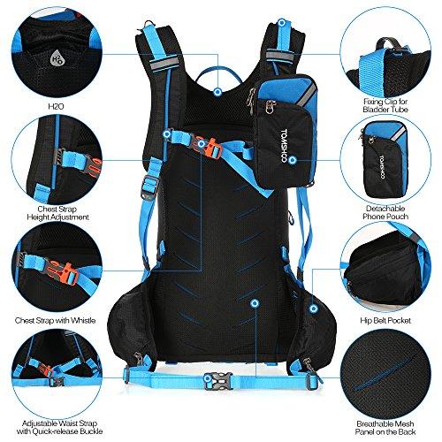 TOMSHOO Fahrradrucksack 20L, Outdoor Rucksack Multifunktionaler Wanderrucksack Skirucksack für Radfahren Reiten Bergsteigen mit Regenschutzkappe und Helmabdeckung - 3