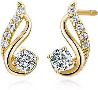 FANCIME 14K Real Solid Yellow Gold Natural Diamonds Twist Stud Earrings Minimalist Fine Jewelry for Women 1.54g