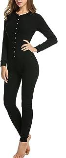 Hotouch Womens Long Sleeve Onesie Union Suit Thermal Underwear Set Sleepwear Pajama Jumpsuit Union S-XXL