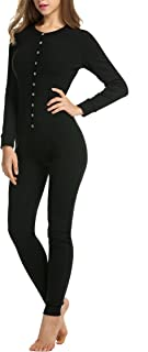 Womens Long Sleeve Onesie Union Suit Thermal Underwear Set Sleepwear Pajama Jumpsuit Union S-XXL