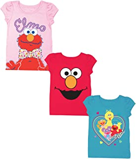 Sesame Street Baby Girls' Toddler 3 Pack Puff Sleeve Tee Bundle